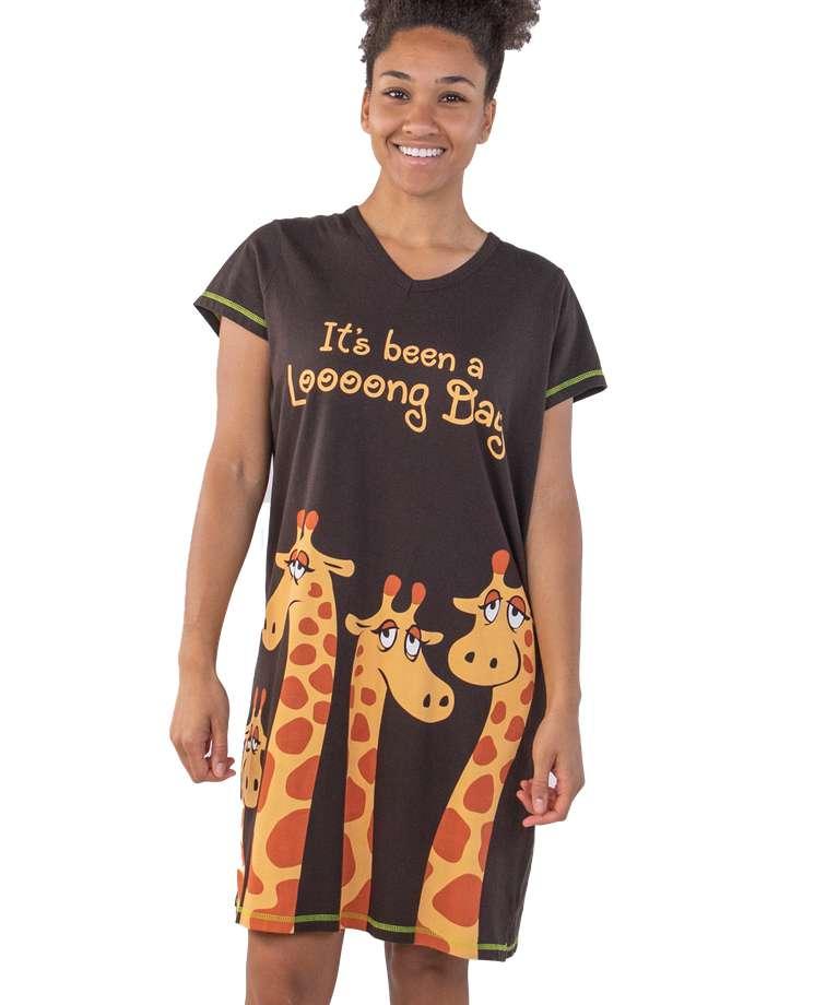 It's Been A Looong Day Women's Giraffe V-neck Nightshirt