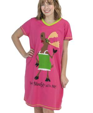 Don't Moose With Me Women's V-neck Nightshirt - Clearance