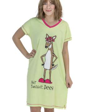 Not Tonight, Deer Women's V-neck Nightshirt