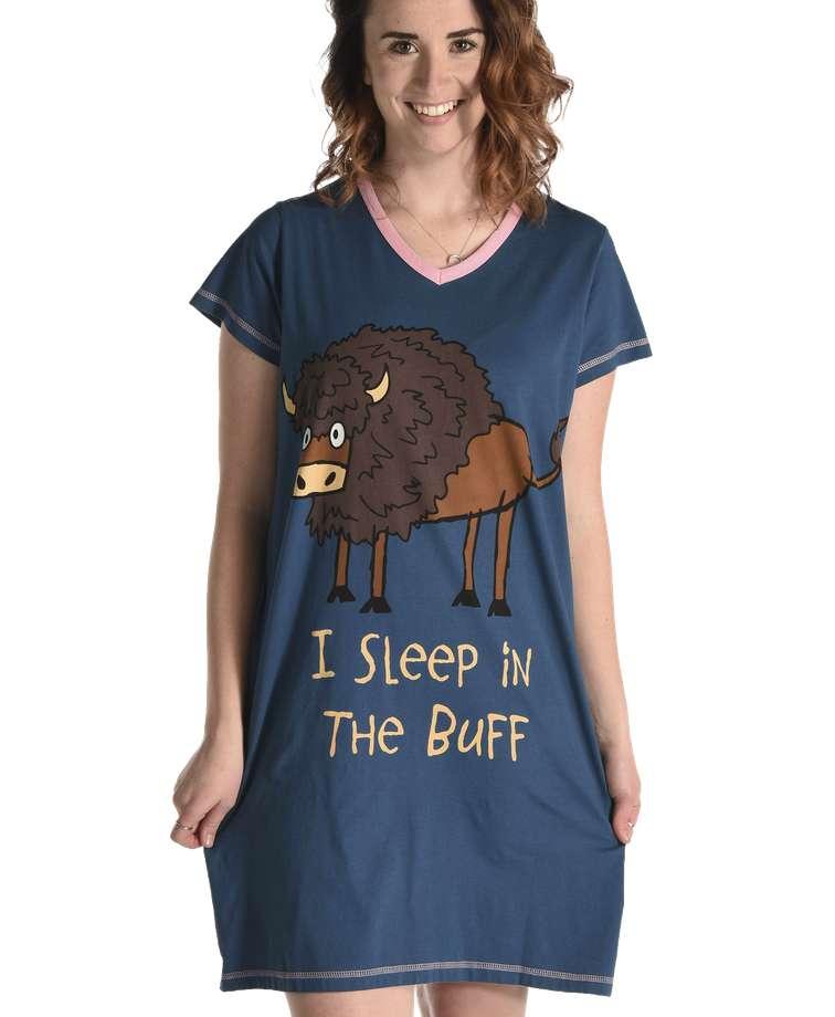 Sleep in the Buff Women's Buffalo V-neck Nightshirt