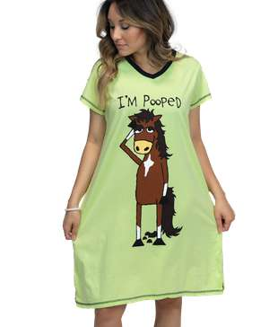 I'm Pooped Women's Horse V-neck Nightshirt