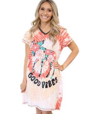 Good Vibes Women's Moose V-Neck Nightshirt