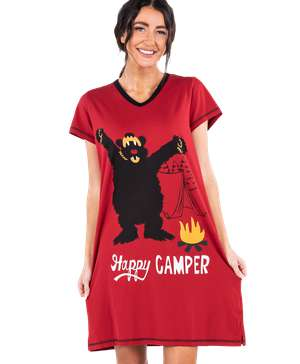Happy Camper Women's V-neck Nightshirt