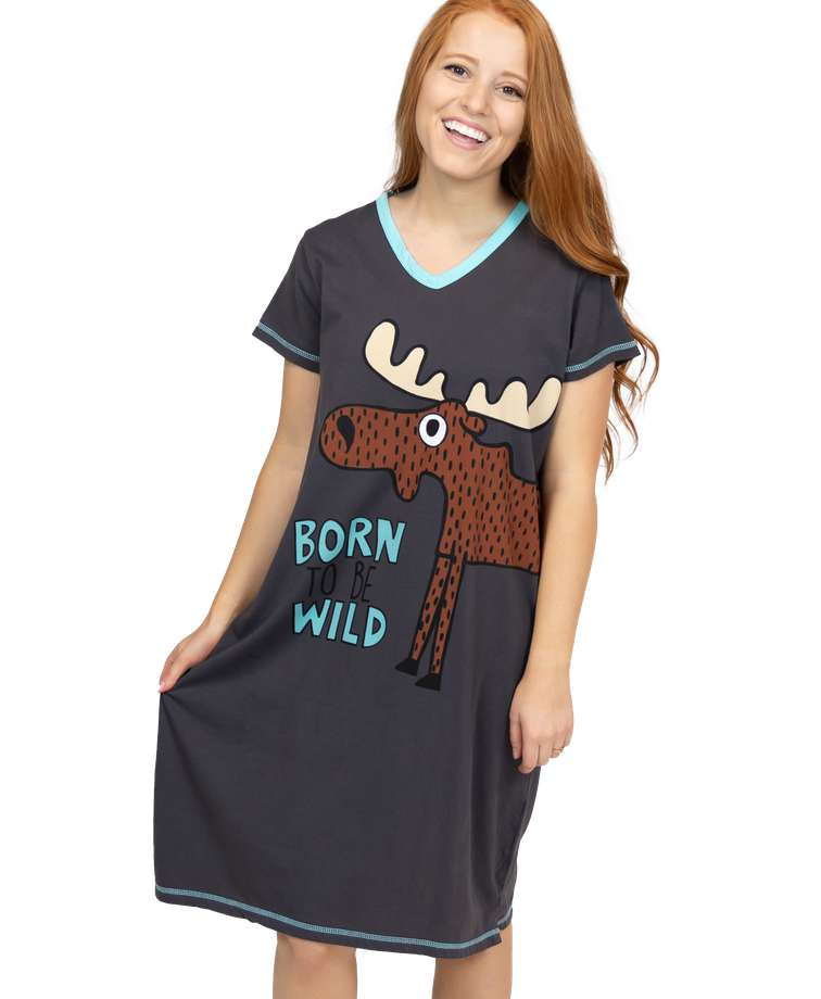 Born To Be Wild Women's Moose V-neck Nightshirt