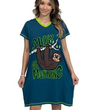 Slow Morning Sloth Women's V-neck Nightshirt