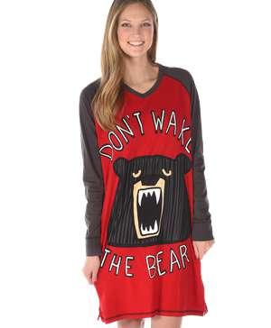 Don't Wake Bear Women's Long Sleeve V-neck Nightshirt