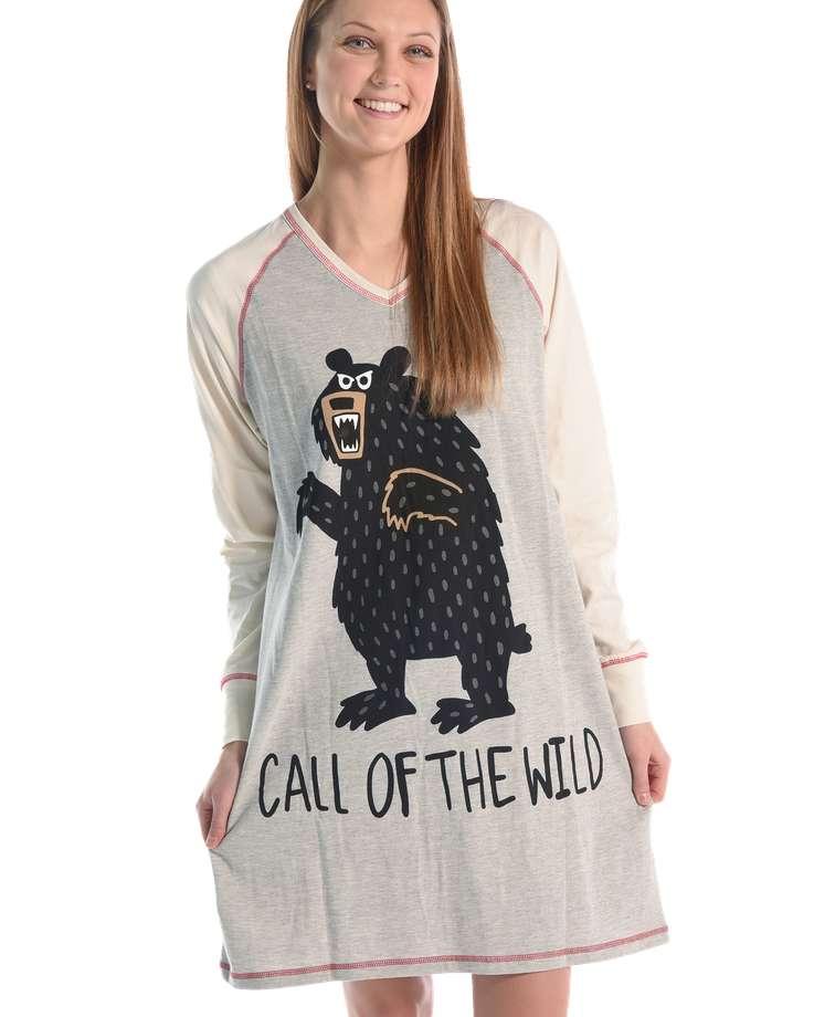 Call of the Wild Women's Bear V-neck Nightshirt