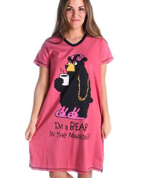 I'm a Bear in the Morning! Women's V-neck Nightshirt