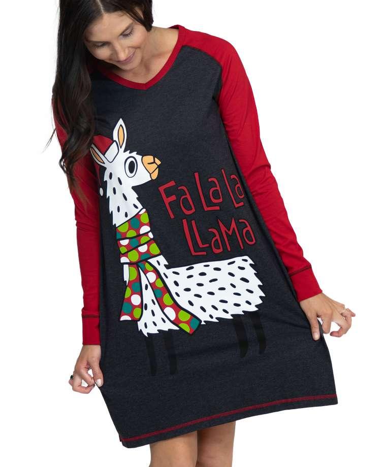 Fa La La Llama Women's Long-Sleeve V-neck Nightshirt