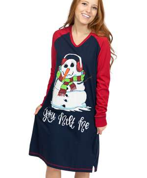 You Melt Me Women's Snowman Long-Sleeve V-neck Nightshirt