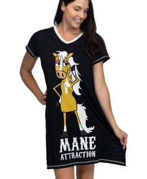 Mane Attraction Women's Horse V-Neck Nightshirt