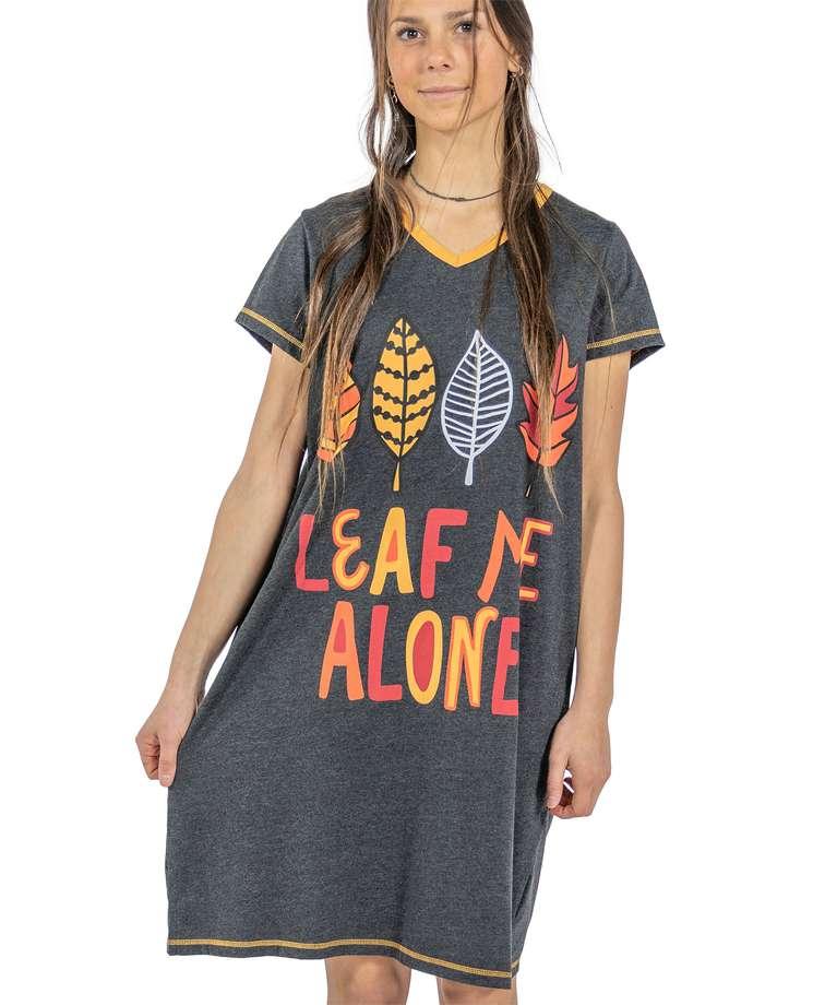 Leaf Me Alone Women's V-Neck Nightshirt