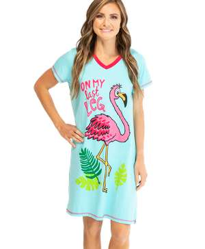 On My Last Leg Women's Flamingo V-Neck Nightshirt