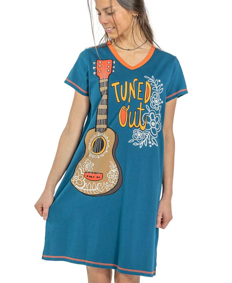 Tuned Out Women's Guitar V-Neck Nightshirt