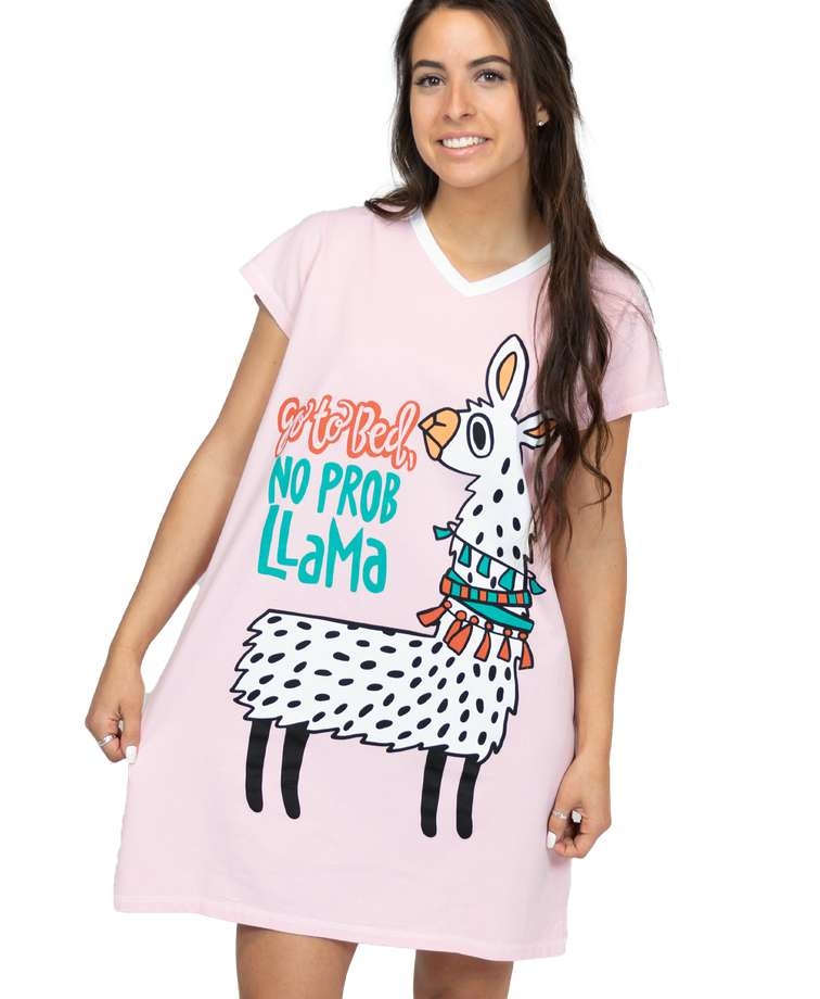 Go to Bed, No Prob Llama Women's V-Neck Nightshirt