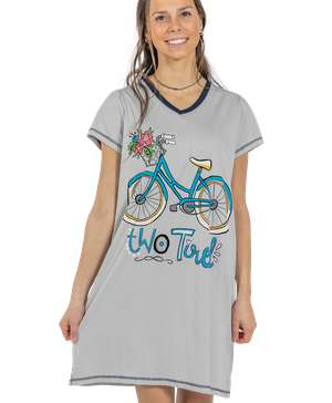 Two Tired Women's Bicycle V-Neck Nightshirt