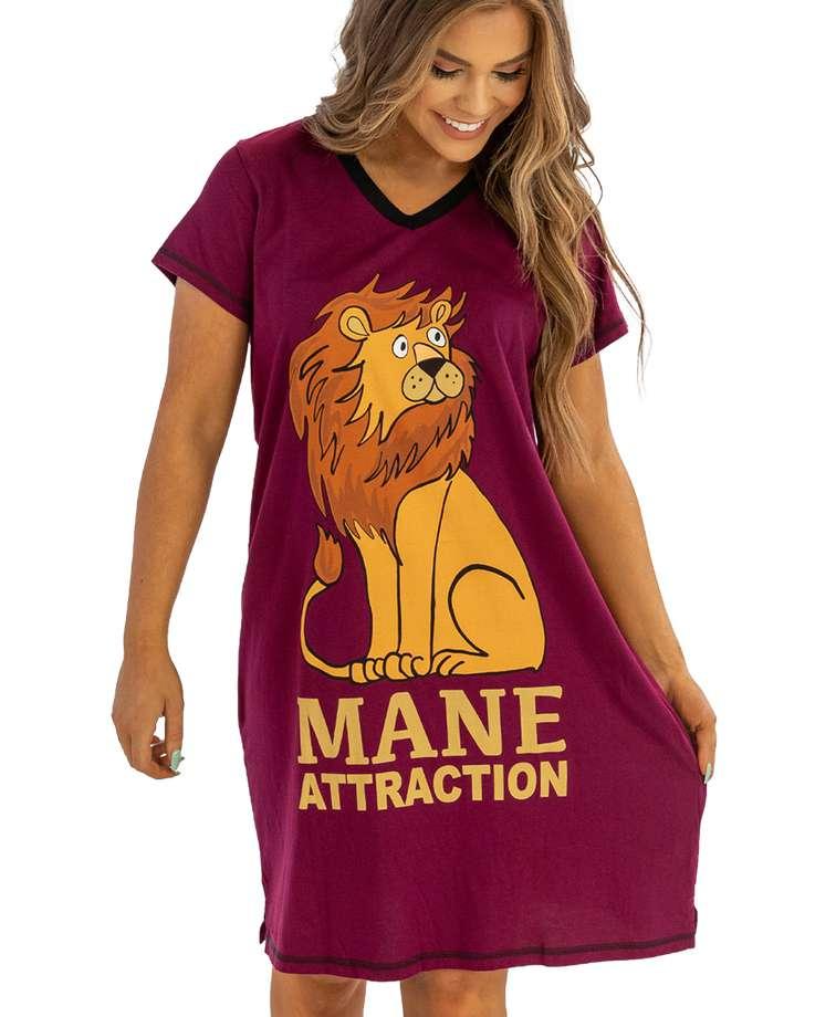 Mane Attraction Women's Lion V-Neck Nightshirt