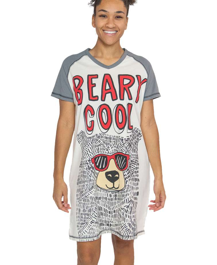 Beary Cool Women's V-neck Nightshirt