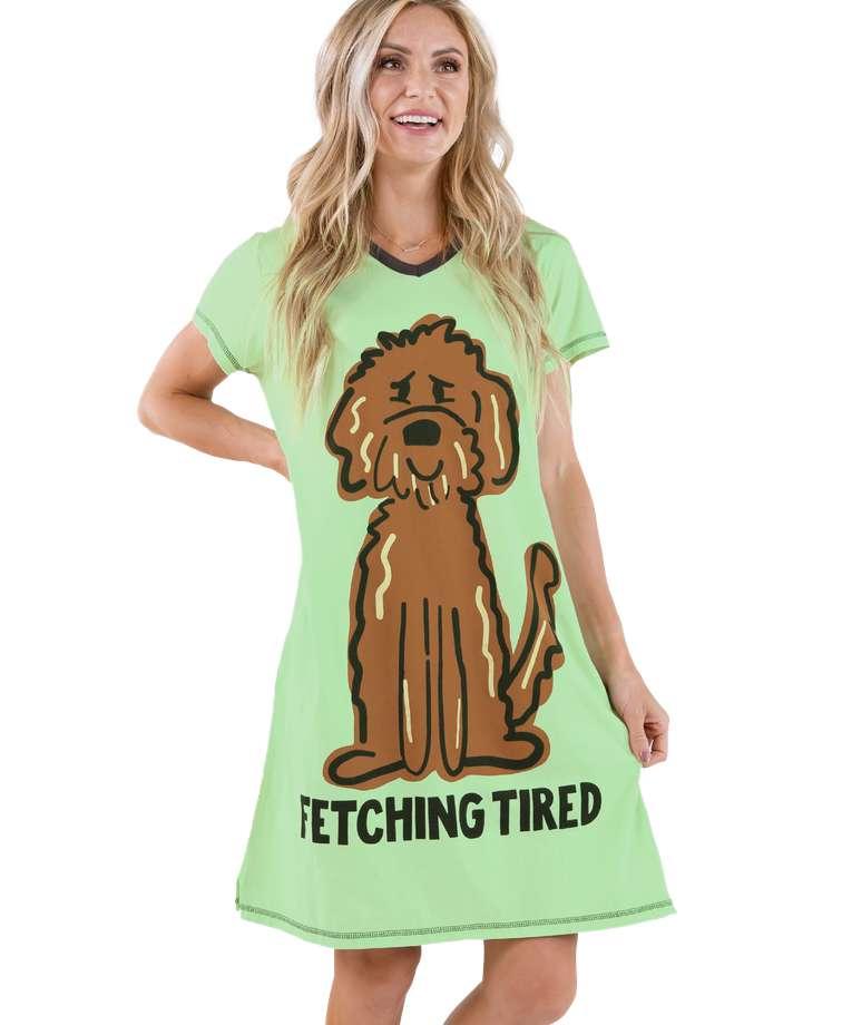 Fetching Tired Women's Dog V-Neck Nightshirt