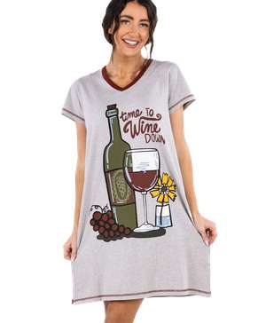 Time To Wine Down Women's V-Neck Nightshirt
