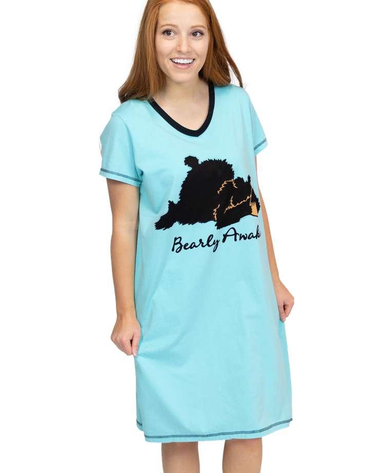 Bearly Awake Women's V-neck Nightshirt