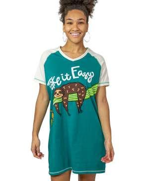 Take it Easy Women's Sloth V-Neck Nightshirt