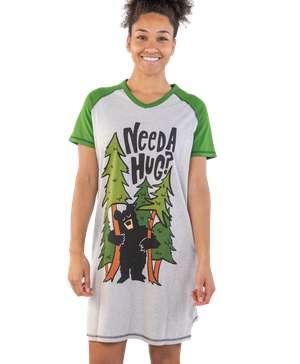 Need a Hug? Women's Bear V-Neck Nightshirt