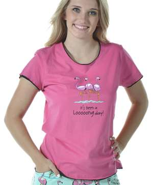 Looong Day Flamingo Women's Fitted Tee