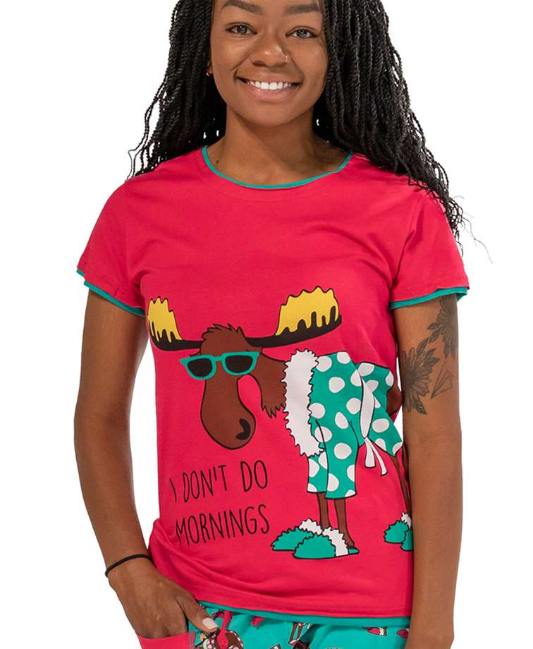 Don't Do Mornings Women's Moose Fitted Tee