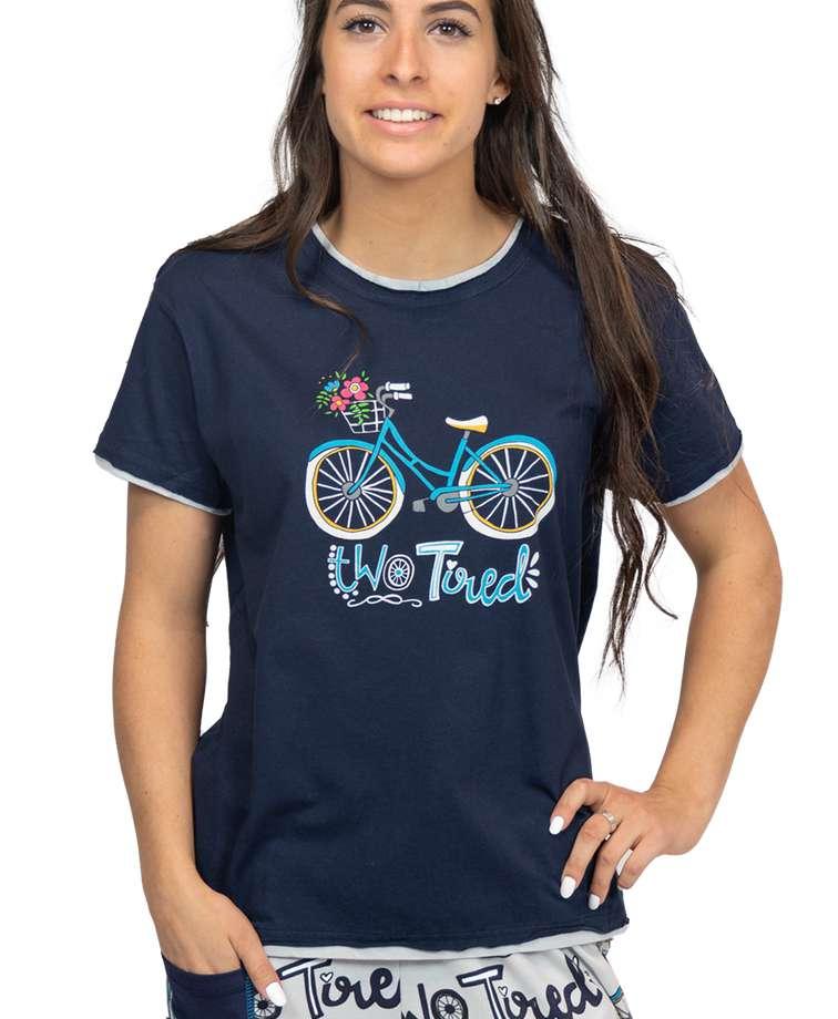 Two Tired Women's Regular Fit Bicycle PJ Tee