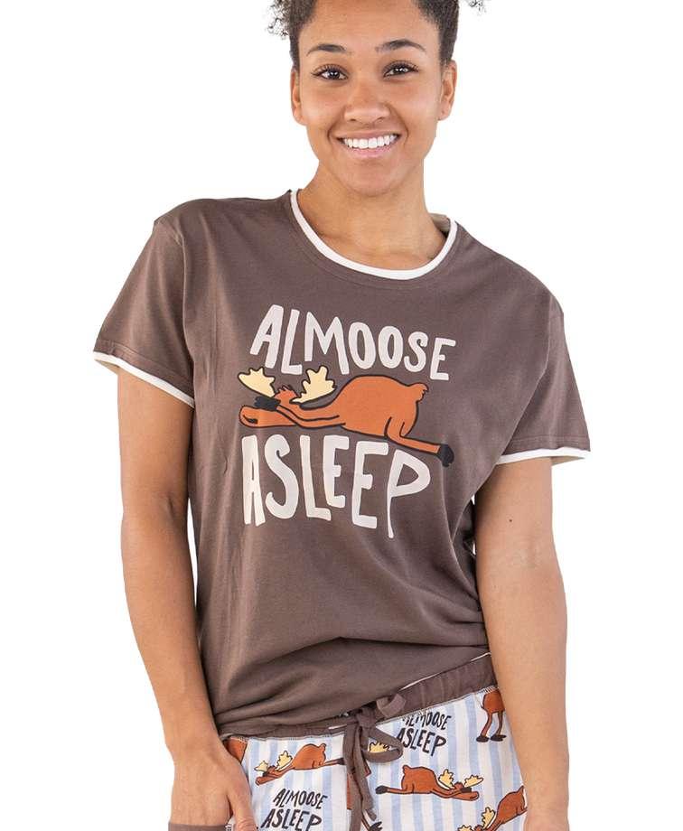 Almoose Asleep Women's Regular Fit Pj Tee