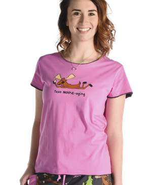 Text Moose-aging Women's Fitted Pj Top