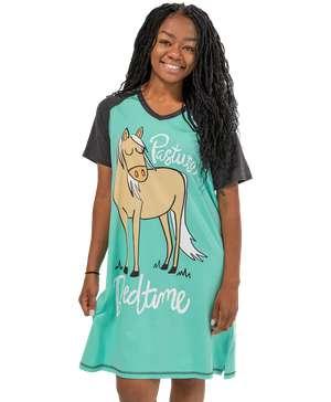 Pasture Bedtime Women's Horse V-neck Nightshirt