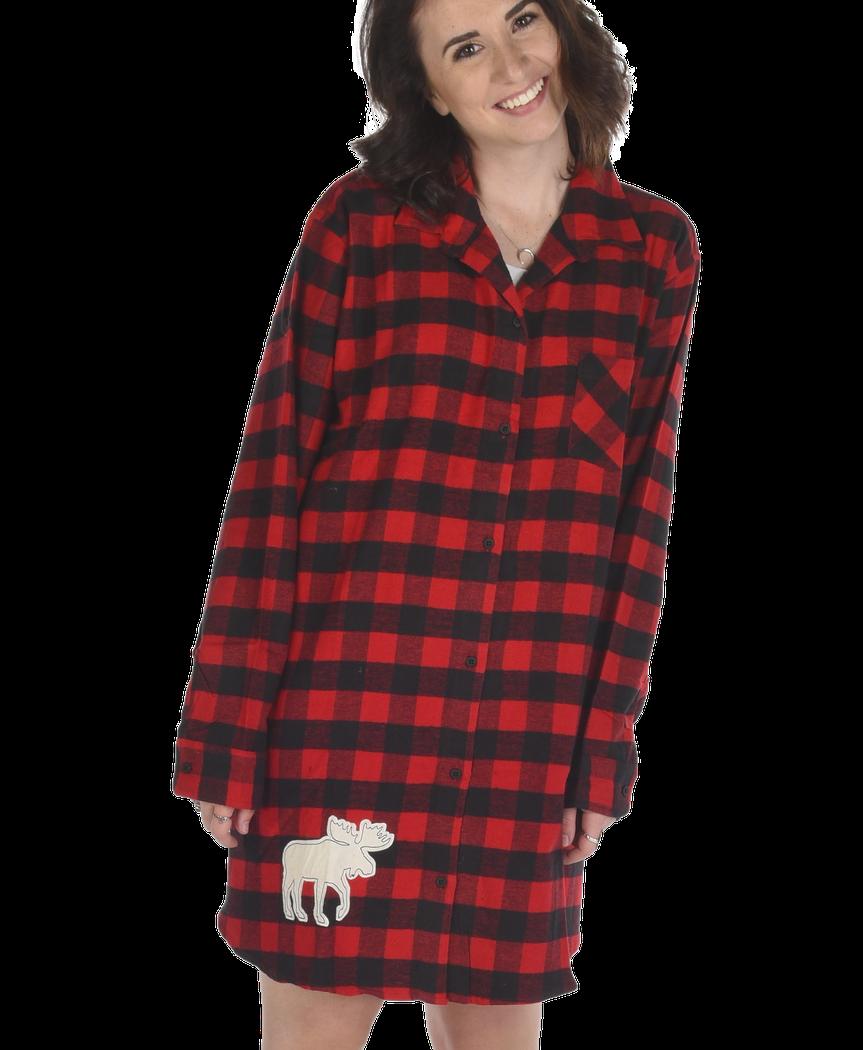 Flannel Moose Plaid Night Shirt 8dd74351b