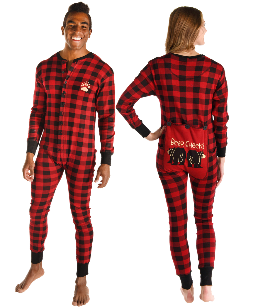 Adult Onesie Flapjack Bear Cheek Plaid by LazyOne