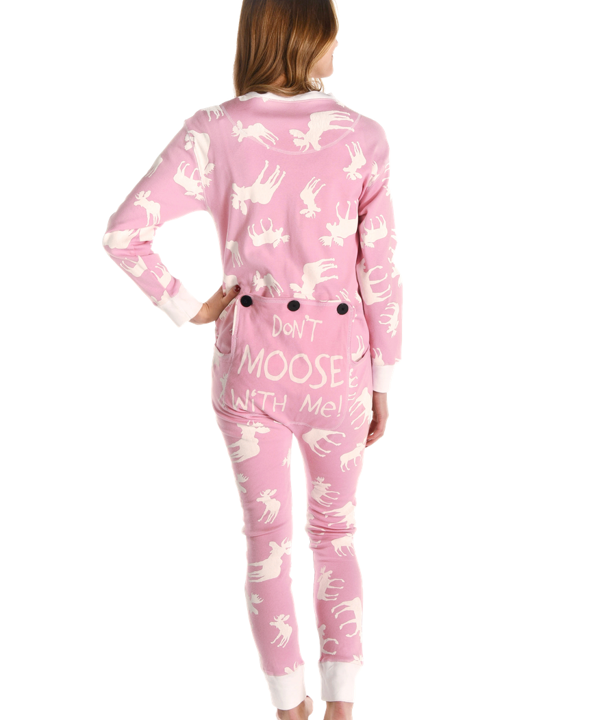 0974720b30 Adult Onesie Classic Moose Pink by LazyOne