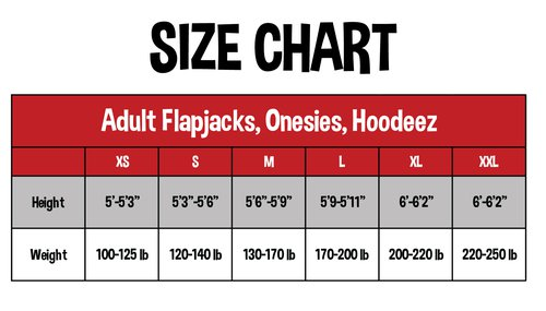 Adult Sizing: Flapjack | Onesie | Hoodeez