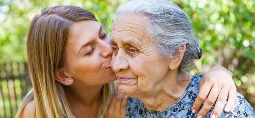 Granddaughter kissing Grandma at Reunion