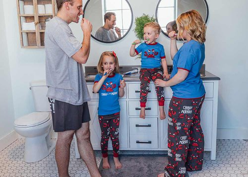 bedtime routine in crab pajamas