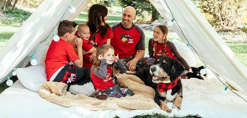 Tent family camping with dog