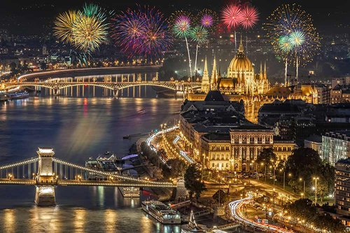 Fireworks on New Year Day in Budapest