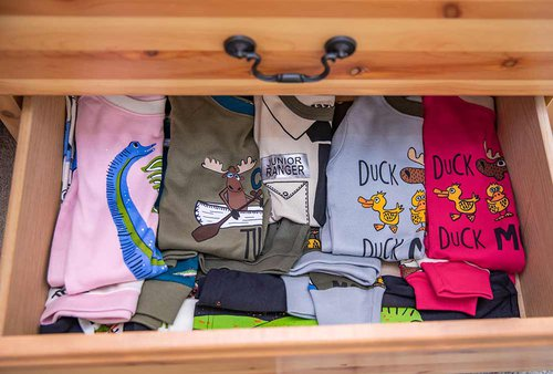 pajamas in a drawer