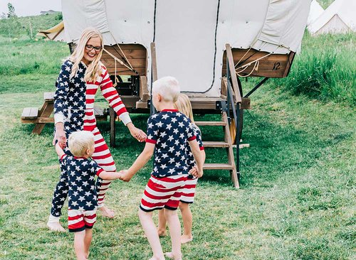 Glamping in Stars And Stripes Pajamas
