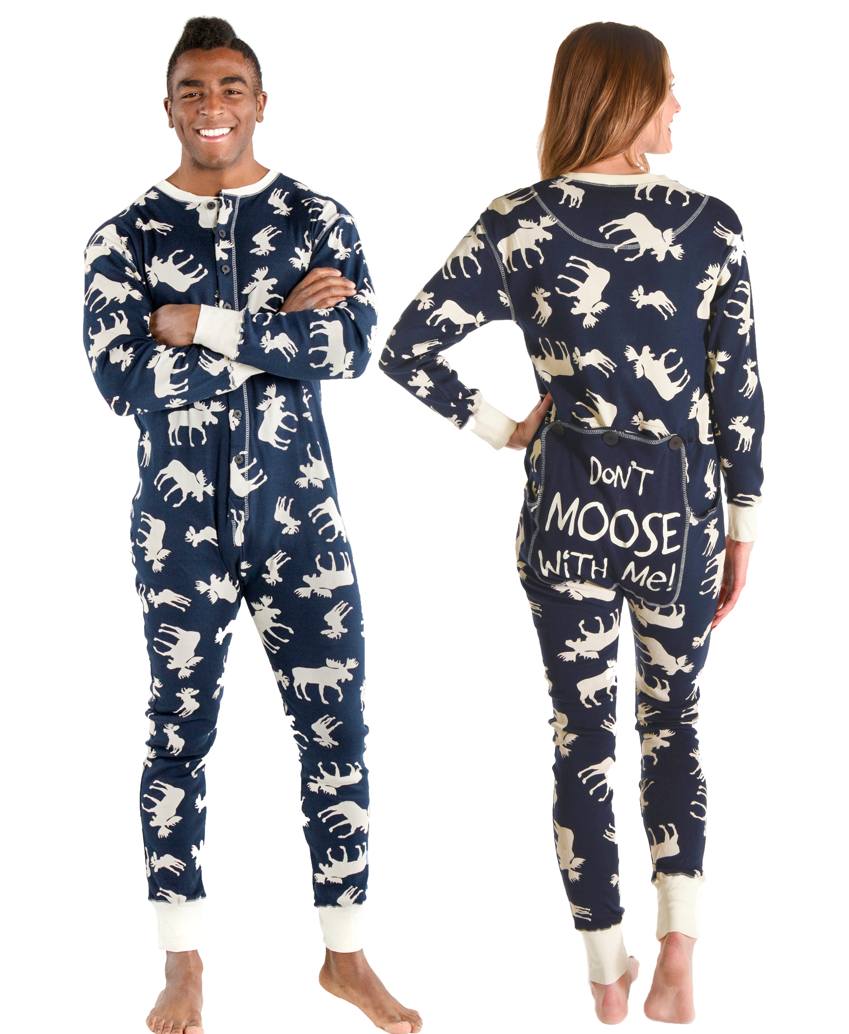 29470ccb10 Adult Onesie Flapjack Classic Moose Blue by LazyOne