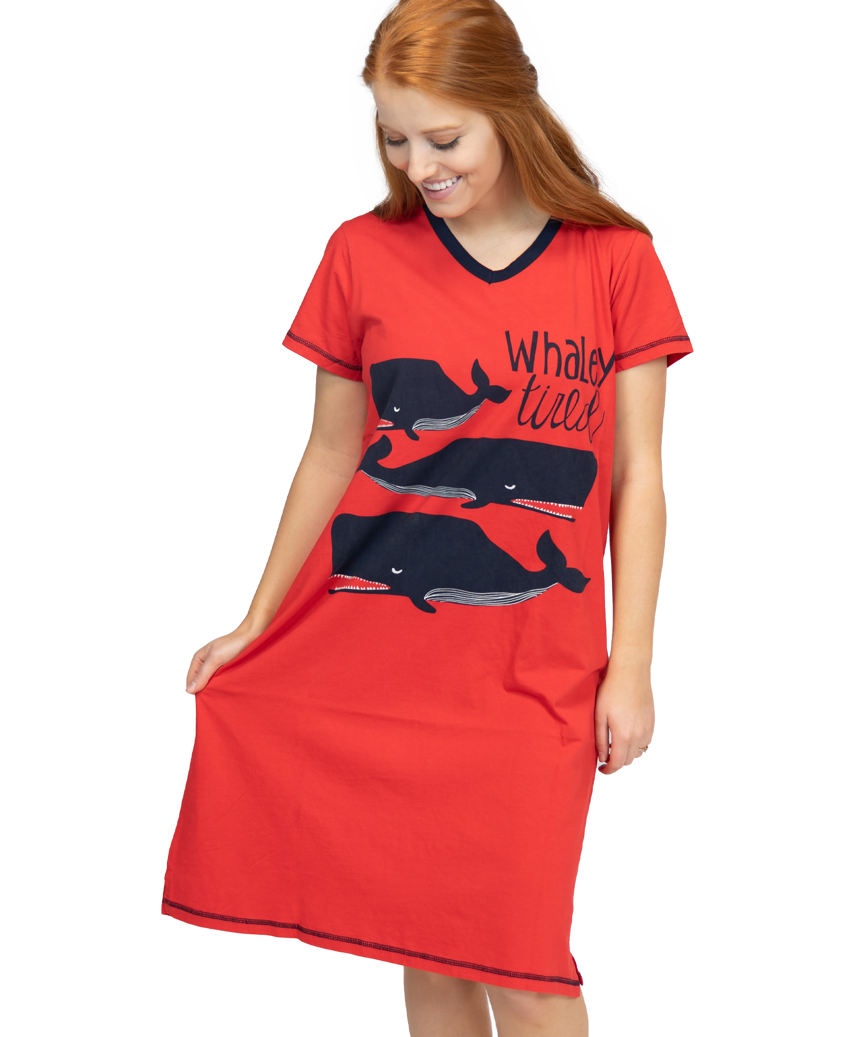LazyOne Womens Whaley Tired Nightshirt V Neck