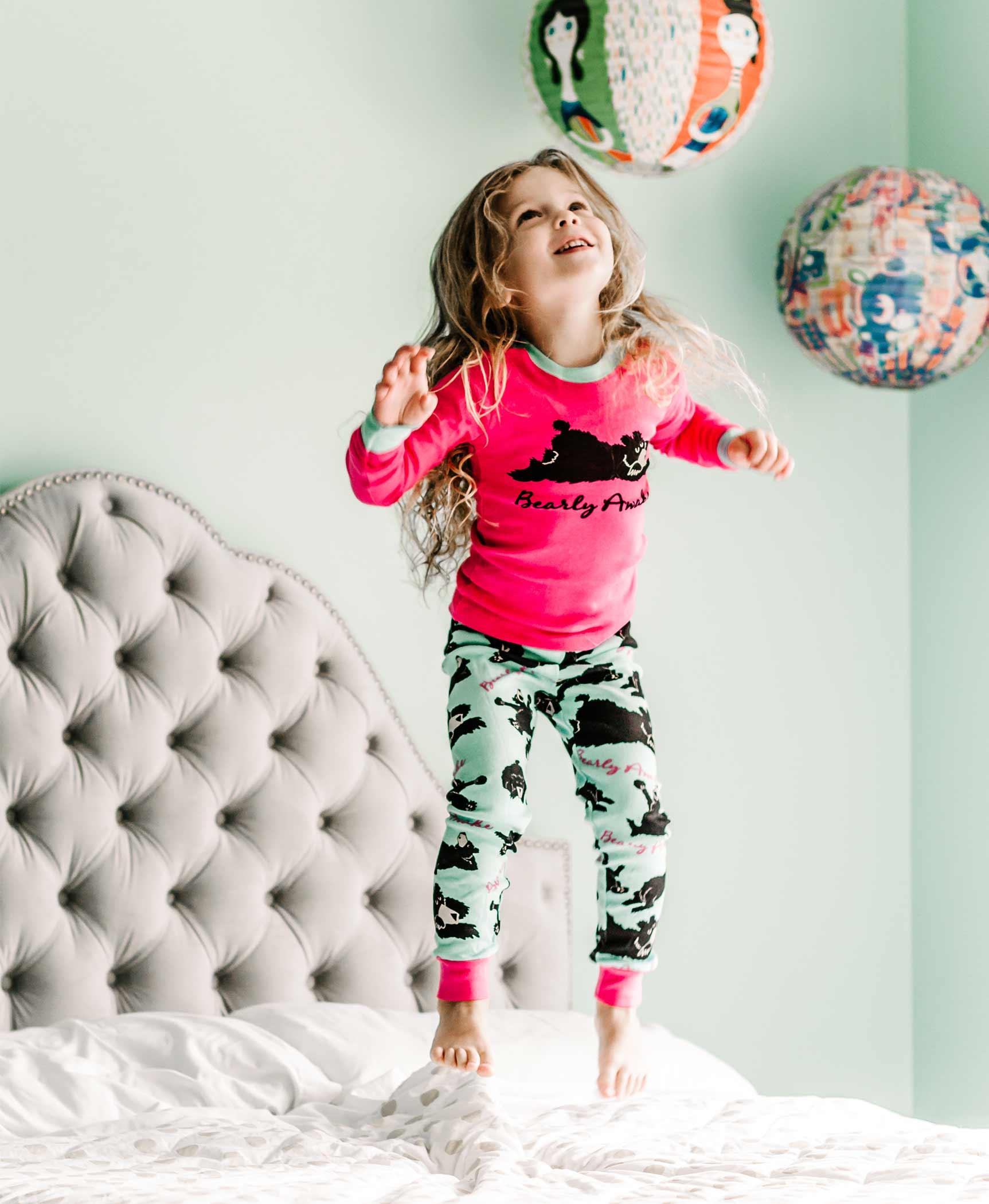 Lazy One Girls Toddlers Bearly Awake Cotton Pajamas Snug Fit Jammies PJs